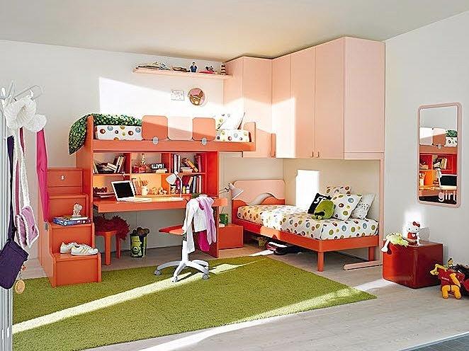 letto a soppalco con scrivania per bambini (bimba) 25 Mistral ...