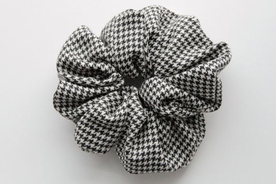 Houndstooth Chidori Monotone Pattern Hair Scrunchie by KHandmadeHK, $12.00