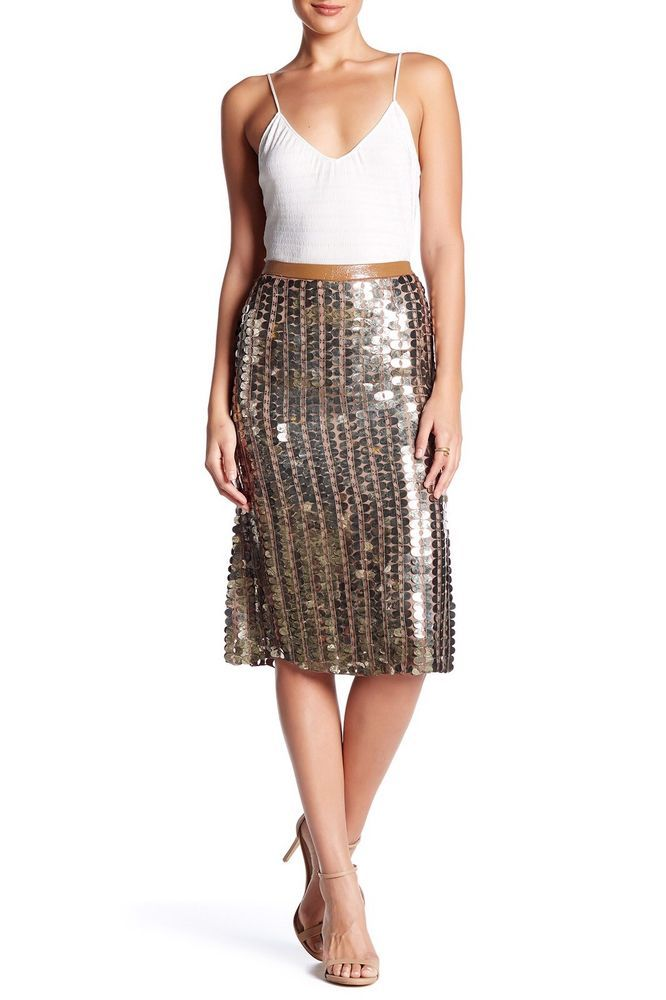 $378 Plenty By Tracy Reese Flared Skirt Tarnished Gold Sequin Anthropologie 6 #Anthropologie #FlareSkirt