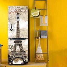 Yazi Torre Eiffel Cubierta de PVC Puerta del Frigorífico Etiqueta de La Pared Mural autoadhesivo Pegatinas Refrigerador Wallpaper 60x150 cm 60x180 cm(China (Mainland))