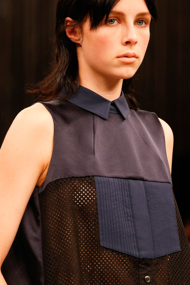 04-28-15; i love the mixing of fabric in this shirt. Sacai Spring 2014 RTW
