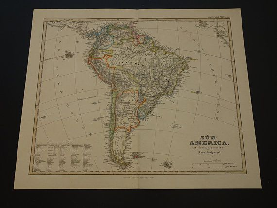Antique map of South America  1859 original by DecorativePrints