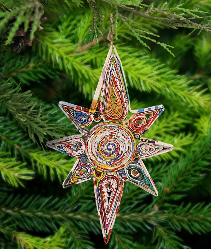 Recycled Magazine Guiding Star Ornament