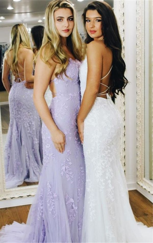 4e7fcf30f9105 Sheath Spaghetti Straps Lace-Up Sweep Train Light Blue Prom Dress ...