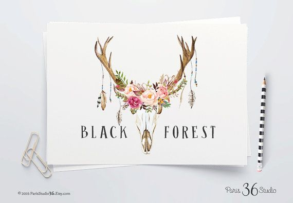 DIY Photoshop Logo Download Watercolor Floral Logo Antler Logo