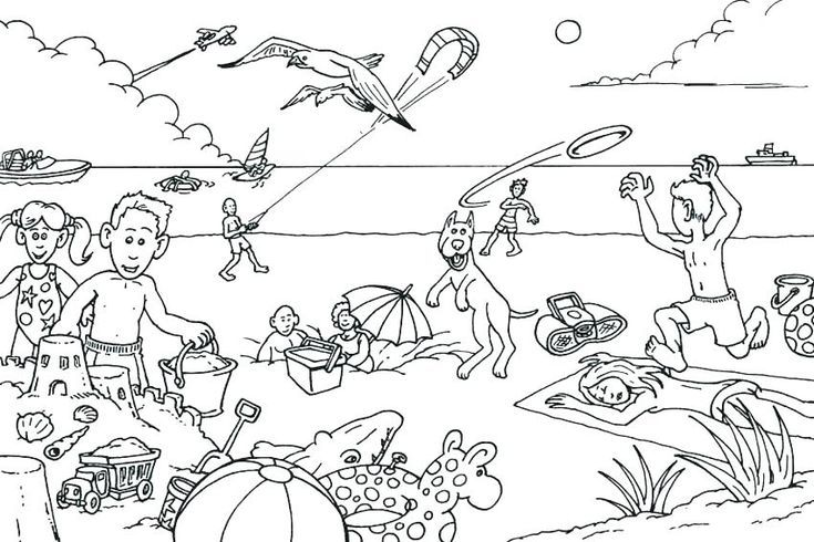 June Coloring Pages Beach Coloring Pages Summer Coloring Pages