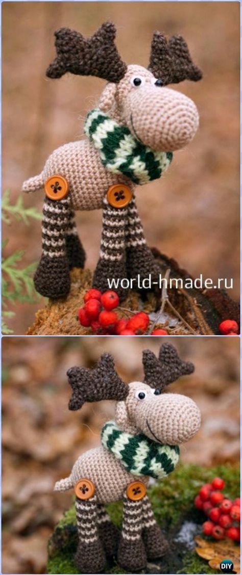 Amigurumi Crochet New Year Moose Free Pattern - Crochet Moose Free Patterns. I may try to figure out