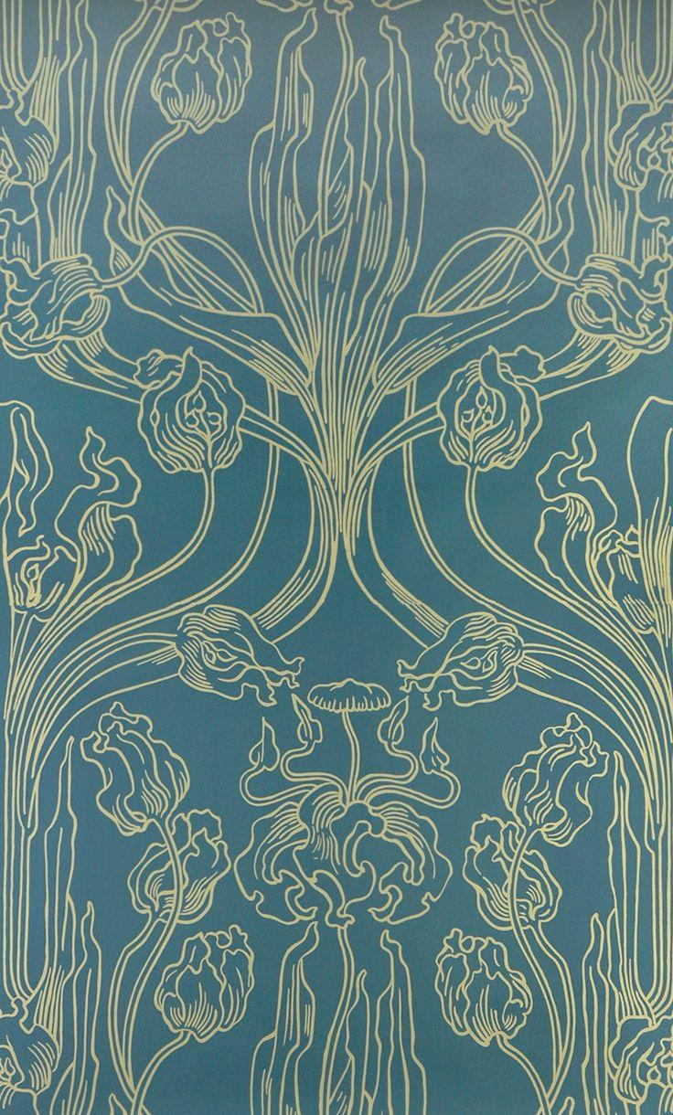 Joseph Maria Olbrich: TAPETE 3070 B Tulpen (gelb/blau), Jugendstil um 1900, ORIGINAL HEMBUS HANDDRUCK TAPETE, Breite 52,0 Rapport 69,5