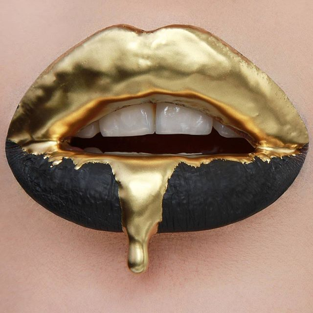 Lips Art Makeup - Jeffree star cosmetics Velour Liquid lipstick in Weirdo & graftobian makeup Cosmetic Powdered Metal in Gold mixed with Wet'n'Wild clear lipgloss