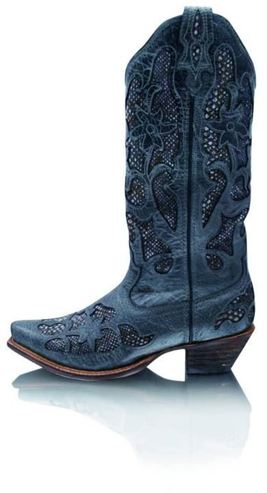 Twisted X TCWO0009 Gray Python - blue boots!
