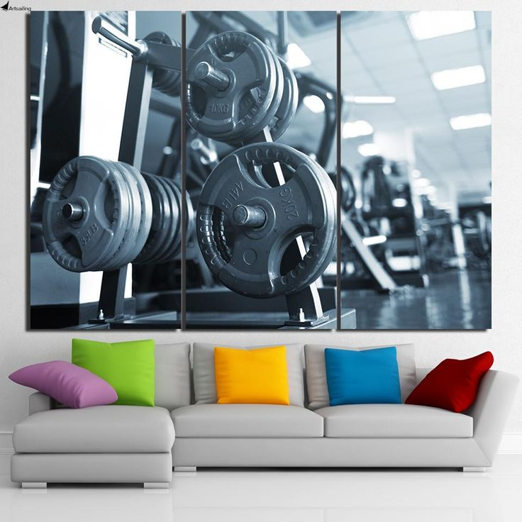 HD Printed 3 Piece Canvas Art Fitness Barbell Painting Bodybuilding Equipment Wall Pictures Home Decor Free Shipping NY-6944C