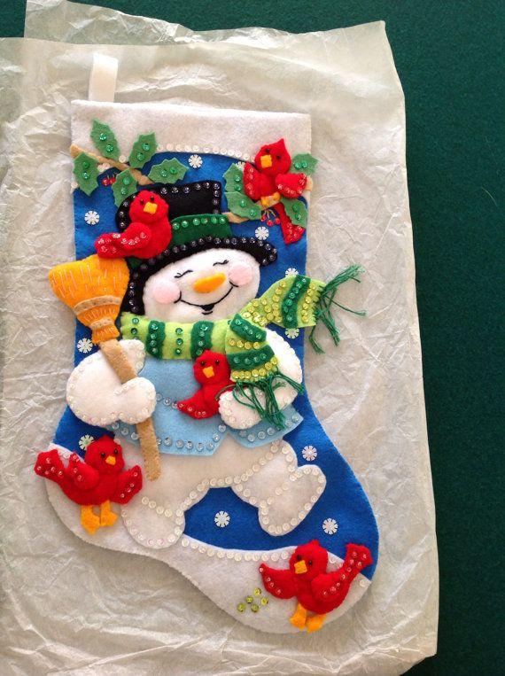 Sequin Christmas Stocking with felt. kit. snowman.  bucilla                                                                                                                                                                                 More