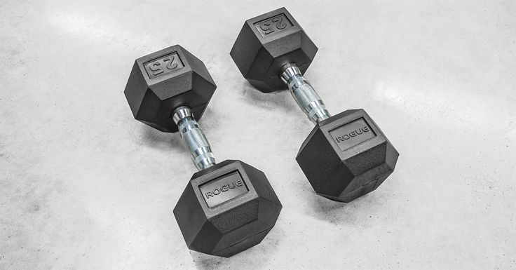 Rogue's Rubber Hex Dumbbells are available in weights ranging from 2.5LB up to 125LB. Check out photos, reviews & more at Rogue Fitness.