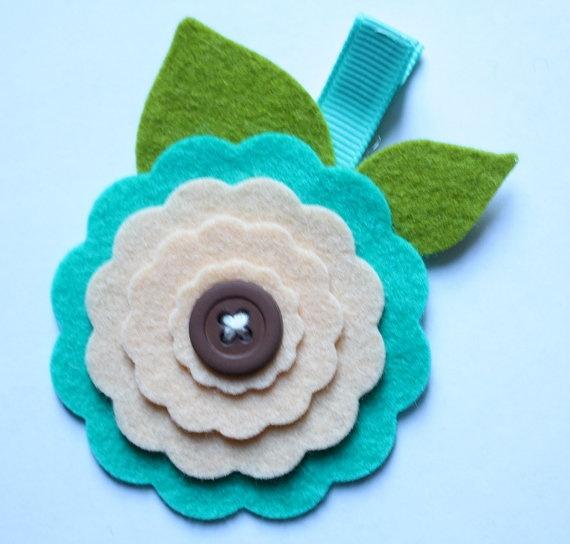 Wool Felt Flower hair clip
