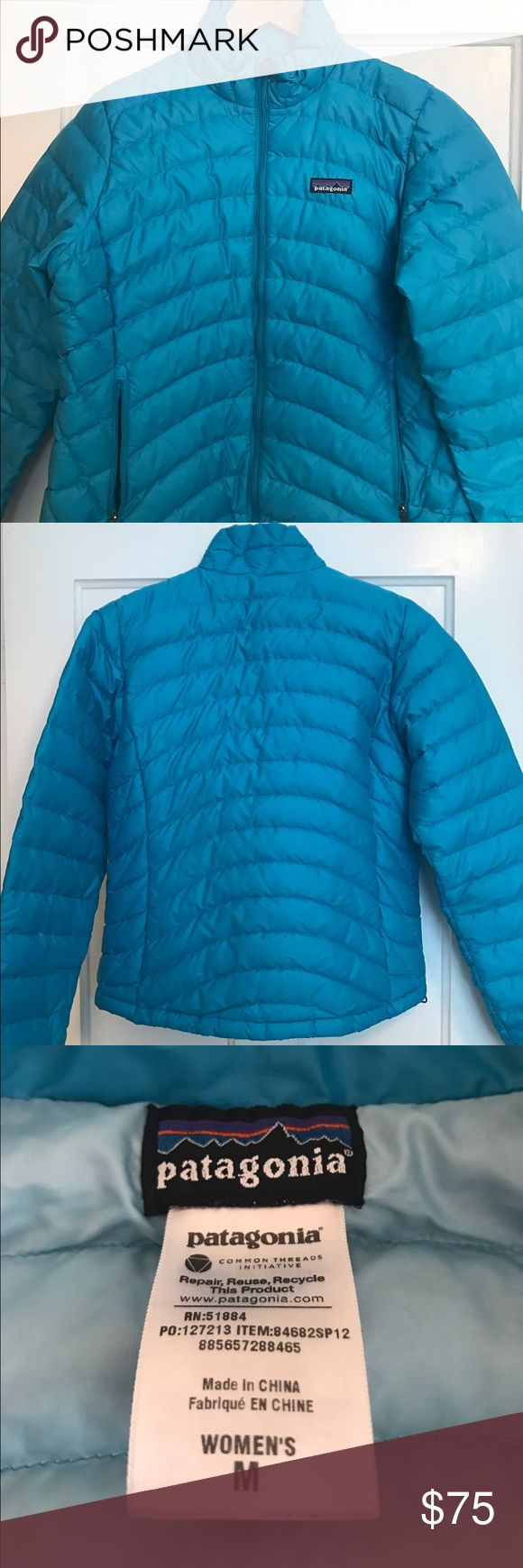 Patagonia Down Sweater Lightly used Patagonia Down Sweater. Very warm jacket in a light blue. No damage. Patagonia Jackets & Coats Puffers