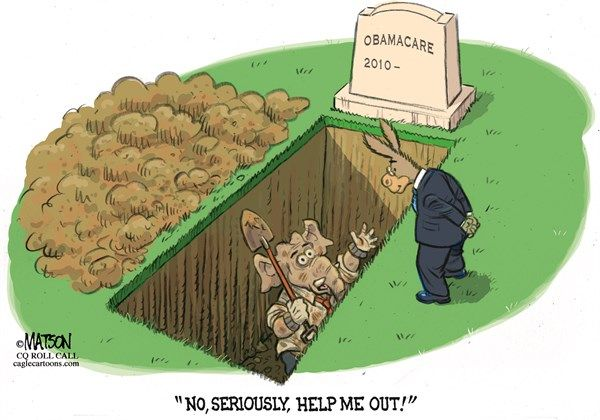 RJ Matson - Roll Call - Republicans Dig Early Grave - English - Republicans Dig Early Grave, Republicans, Democrats, Republican, Party, Early, Grave, Obamacare, ACA, Health, Care, Reform