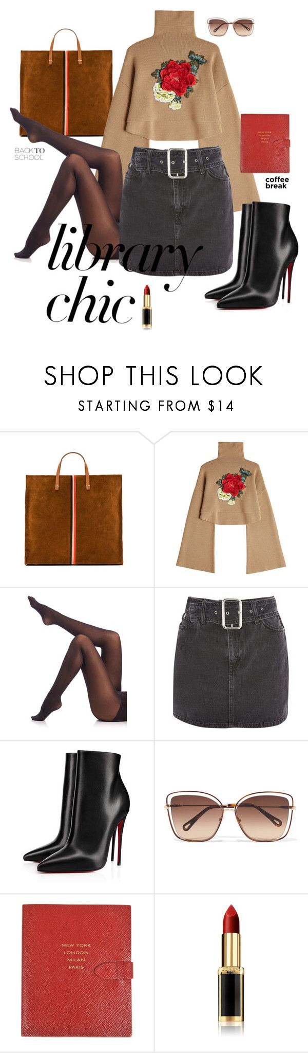 """LIBRARY CHIC"" by olivia-jones1 on Polyvore featuring Clare V., William Fan, SPANX, Topshop, Christian Louboutin, Chloé, Smythson and L'Oréal Paris"