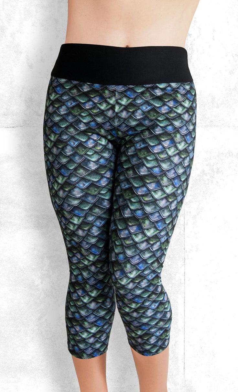 Capri Leggings - Emerald Dragon Scales - Funtastic Activewear