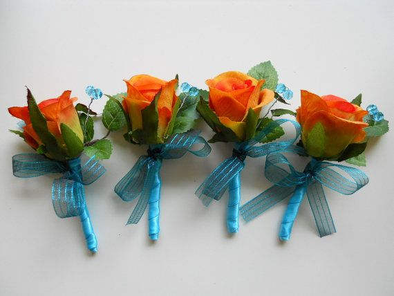Orange and Tiffany Blue Boutonnieres with Crystal Accent, 4 pieces set