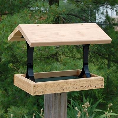 Woodlink Fly Thru Platform Bird Feeder - The Woodlink Fly Thru Platform Bird Feeder is a superb combination of rustic beauty and practical use that will surely add to any bird feeding sanctuary. Invite a flock of birds to feed comfortably at this generous feeder. The Fly Thru Platform Bird Feeder is made of durable cedar that will add a rustic elegance to your birding haven for years to come. Made in the USA! - JacobsOutdoor