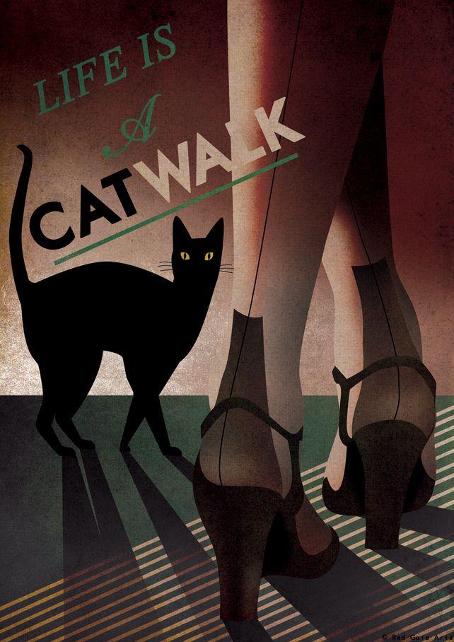 Art Deco Bauhaus A3 Poster Print Vintage 1930's Cat Fashion Vouge Style 1940's