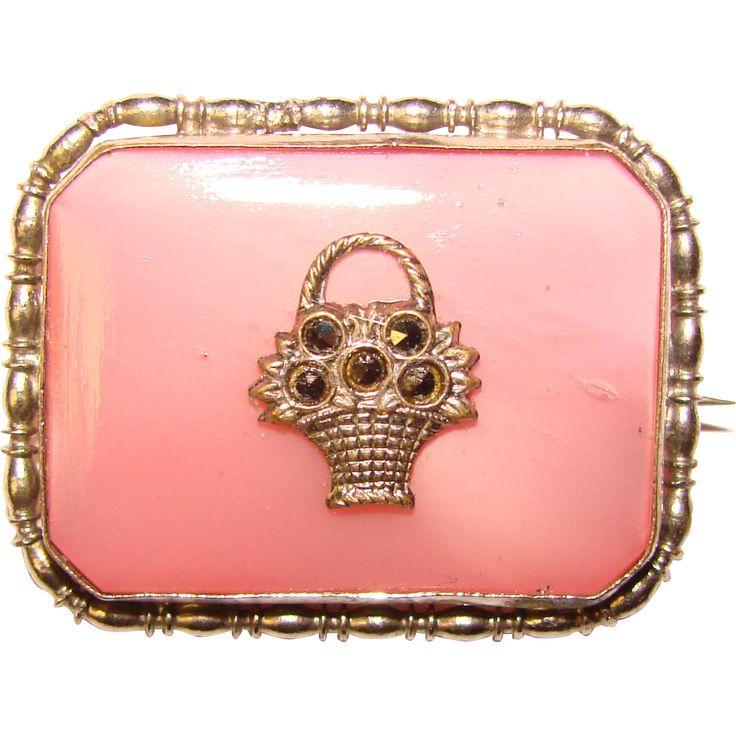 Gorgeous Deco PINK SATIN Glass Marcasite Basket Brooch