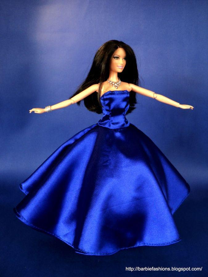 Поделки для кукол: Выкройка вечернего платья для Барби