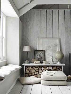 Reading nook & firewood storage #home #decor