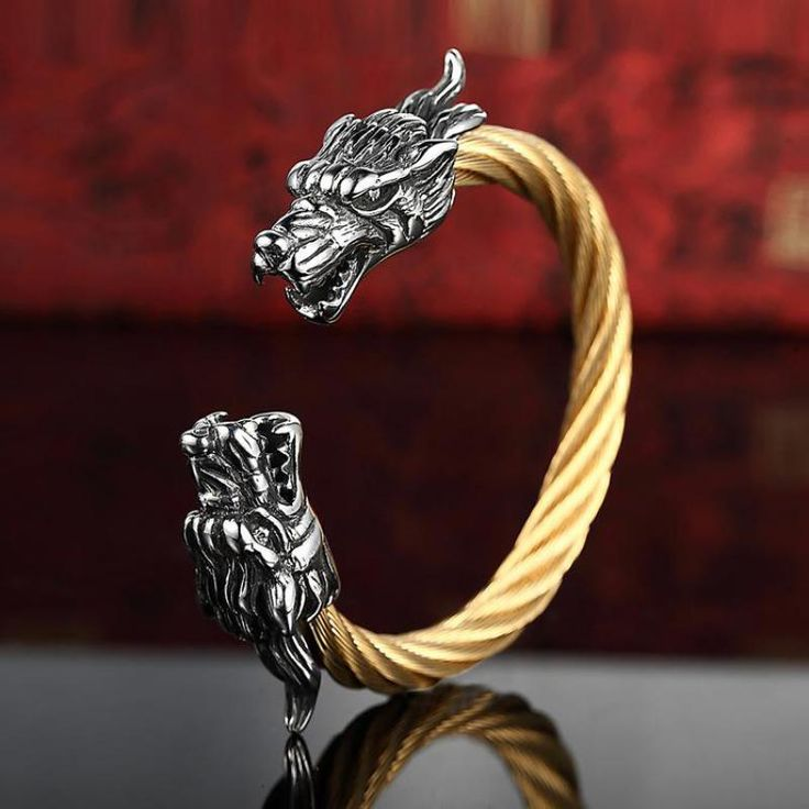 Vintage Punk 316l Stainless Steel Dragon Bracelets For Men With Twisted Cable Bangle Mens Accessories 2016 Bracelet