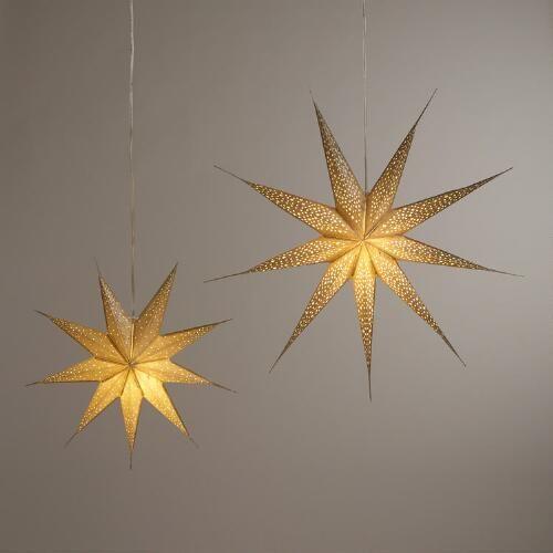 Champagne Glitter 9 Point Star Paper Lantern More Paper