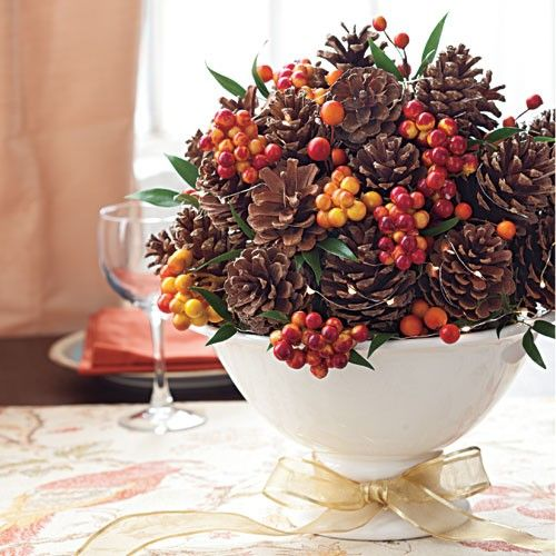 How To Make A Rustic Pine Cone Centerpiece Thanksgiving