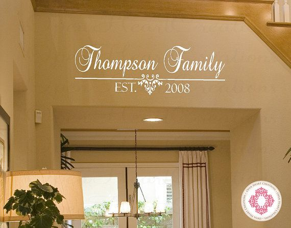 Family Name Vinyl Decal with Established Date - Personalized Wall Decal for Bedroom Entry Way Living Home Decor 12h x 36w PD0033 on Etsy, $35.00