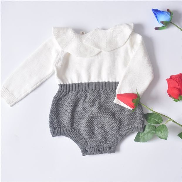 Hu sunshine wholesale 2017 spring Baby Girls Boys knitted Sweater lotus leaf ruffled collar Romper ( pick size )