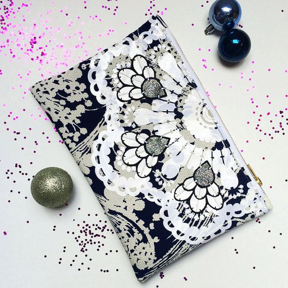 Vintage dress fabric Embellished CLUTCH in navy and white with GLOSS WHITE VINYL EMBELLISHMENT by dAKOTArAEdUST