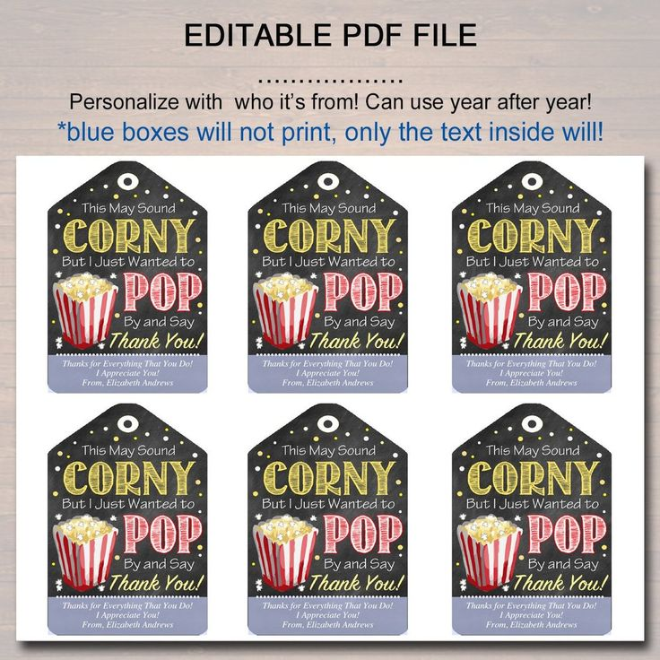 Teacher & Staff Appreciation Popcorn Thank You Tags ...