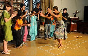 Michelle Obama fitness: First lady Michelle Obama plays hopscotch