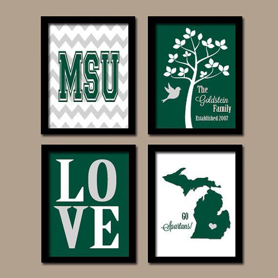 MSU Michigan State University Spartans College Custom Family Initial State Love Bird Tree Wedding Date Set of 4 Prints Wall ART Graduation