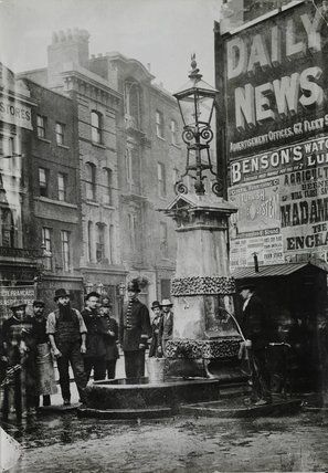 Aldgate Pump - a historic water pump in the city of London at the junction of Aldgate High Street (leading from Aldgate), Fenchurch Street & Leadenhall Street. As a well, it was mentioned during the reign of King John. As the city developed, it is thought to have been taken down and re-erected in its current location in 1876, as a drinking fountain, as streets were widened.