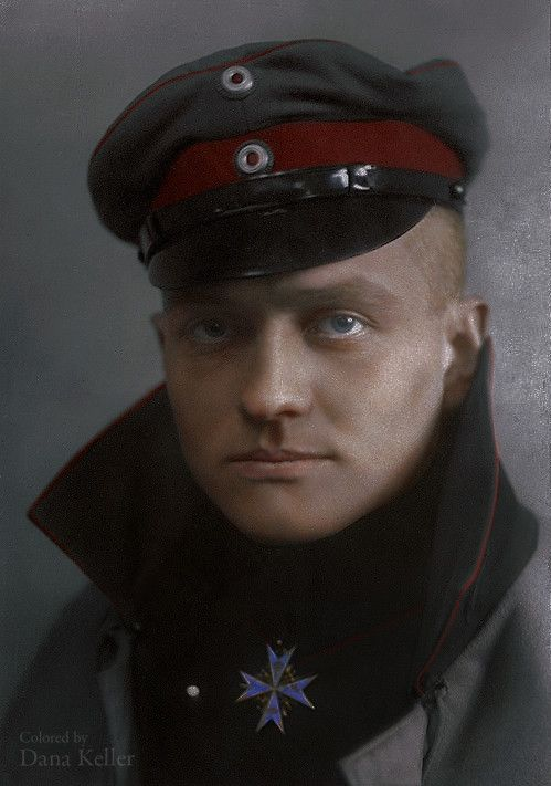 "Manfred von Richthofen, aka ""The Red Baron,"" 1917  Realistically Colorized Historical Photos"