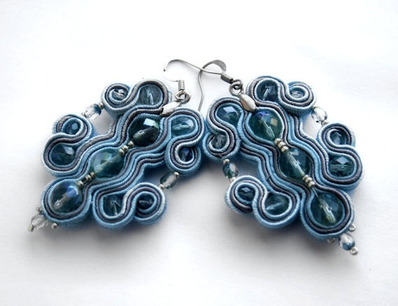 crystal rain   soutache earrings  by KimimilaArt,