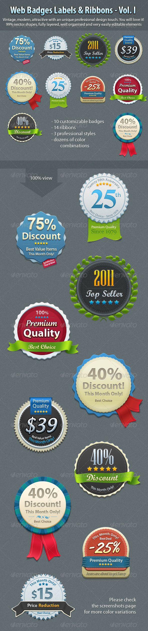 Badges Vol. 1 - GraphicRiver Item for Sale