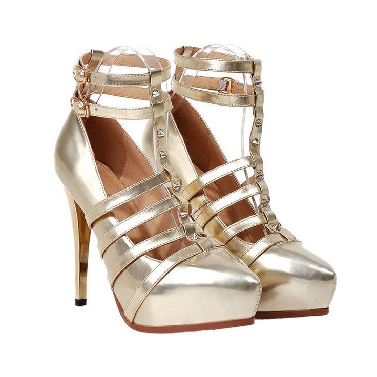 Plus Size Platform Thin Shoes Night Club Dancing golden