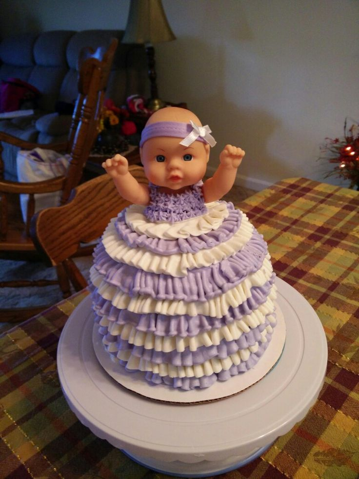 Dolly cake I made for granddaughters 1st birthday.. Picture only, no directions.