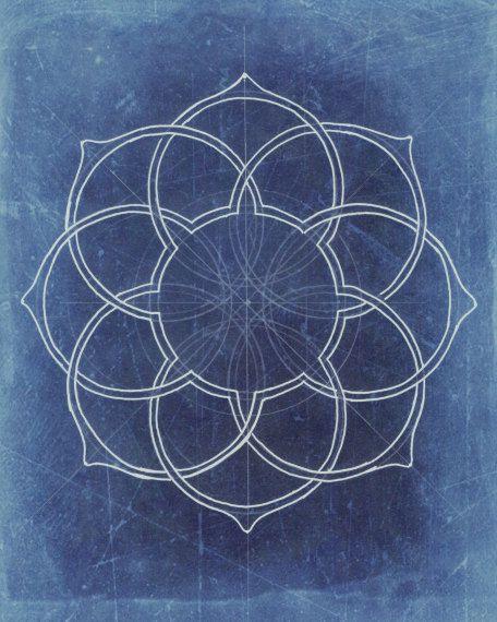 Geometry art fine art print illustration lotus by moonflowermuse