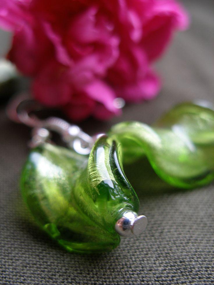 Spring grass - DIY jewellery green earrings - Venetian glass