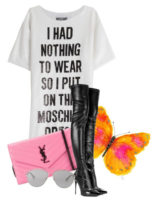 featuring polyvore, fashion, style, Moschino, Alexander McQueen, Yves Saint Laurent, Christian Dior, WALL and clothing