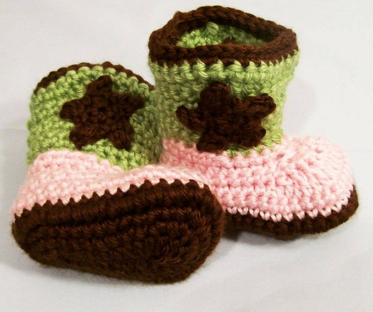 Baby Girls Crochet Western Cowboy Boots in Pink Brown Baby Girl gift, Baby Shower Gift, Baby Girl Booties, Made in the USA, #155 by HandmadeGiftbybarb on Etsy