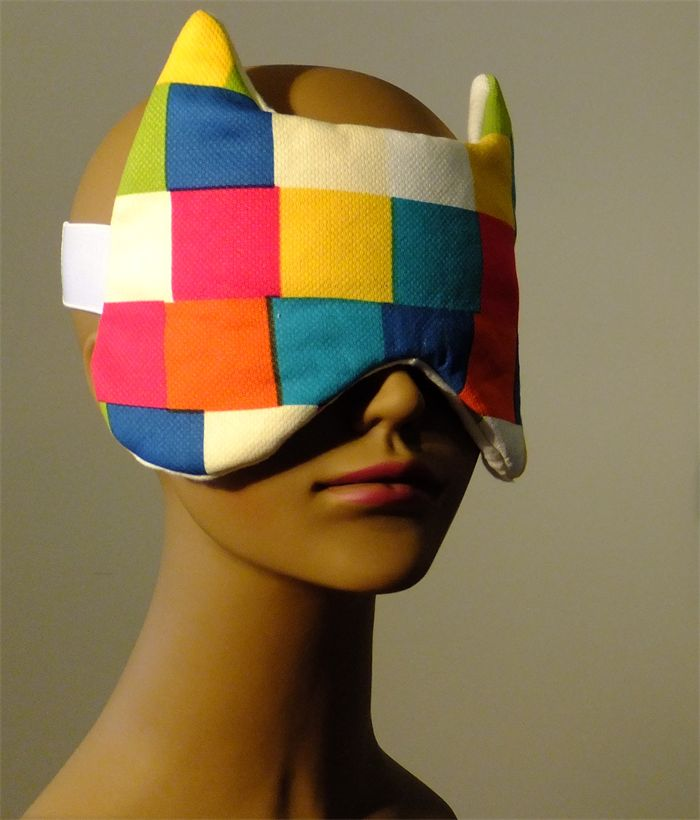 Fox Sleep Mask Bright Squares, Cream Linen. In Flight Mask. Adult.