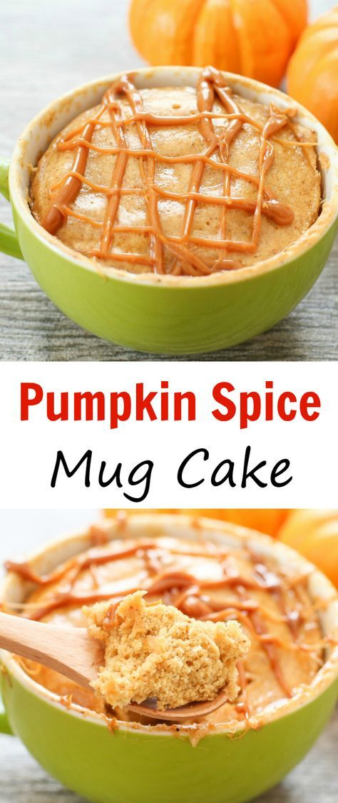 Pumpkin Spice Mug Cake. A delicious, fluffy pumpkin cake full of fall spices ready in less than 5 minutes!
