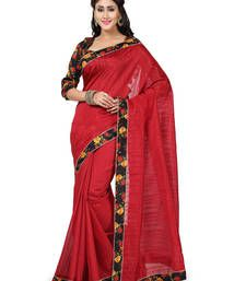 Buy red plain art silk saree with blouses saree with blouse art-silk-saree online